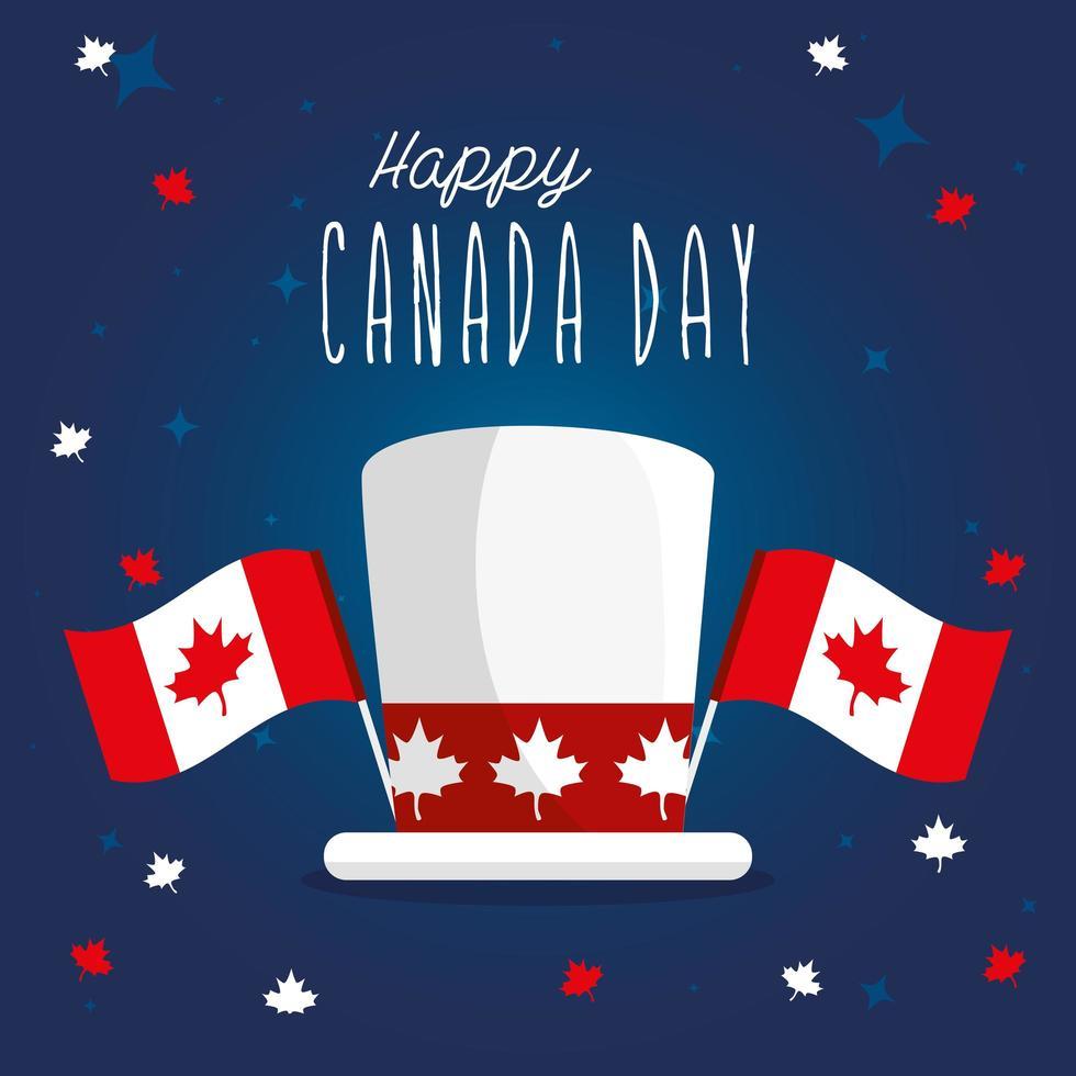 Kanadischer Hut mit Flaggen des glücklichen Kanada-Tagesvektorentwurfs vektor