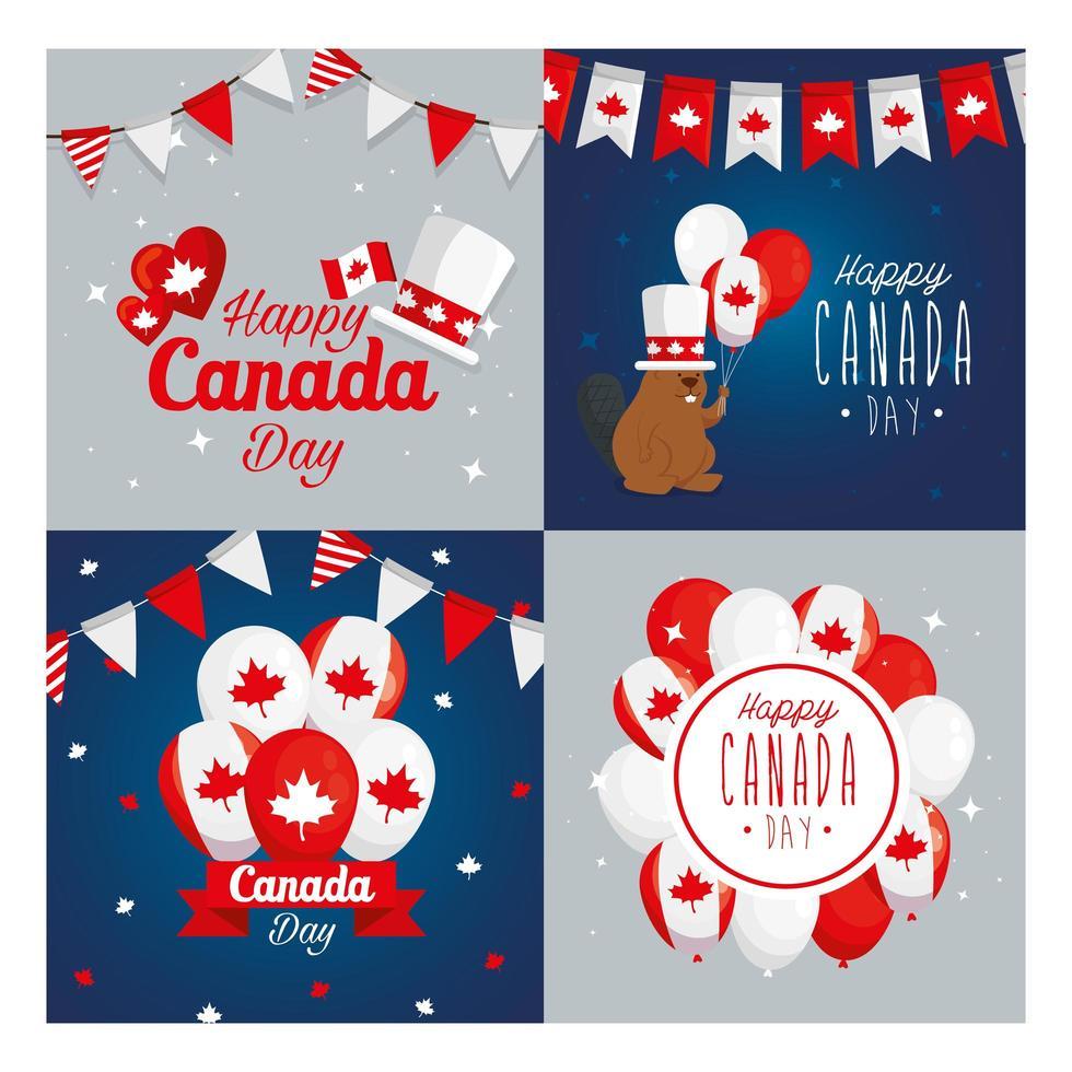 Kanadische Ikone stellte Rahmen des glücklichen Kanada-Tagesvektorentwurfs ein vektor