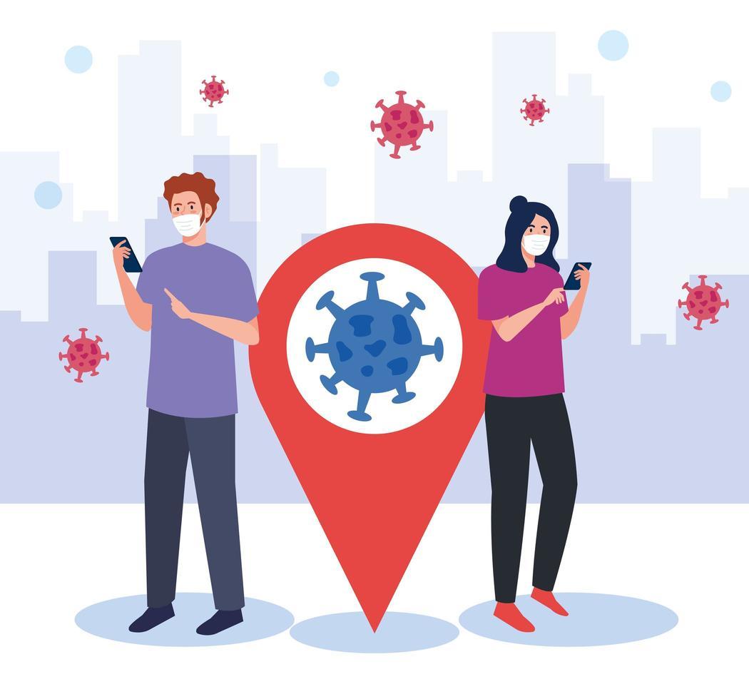 Frau und Mann mit Maske, die Smartphone und GPS-Markierungsvektorentwurf hält vektor
