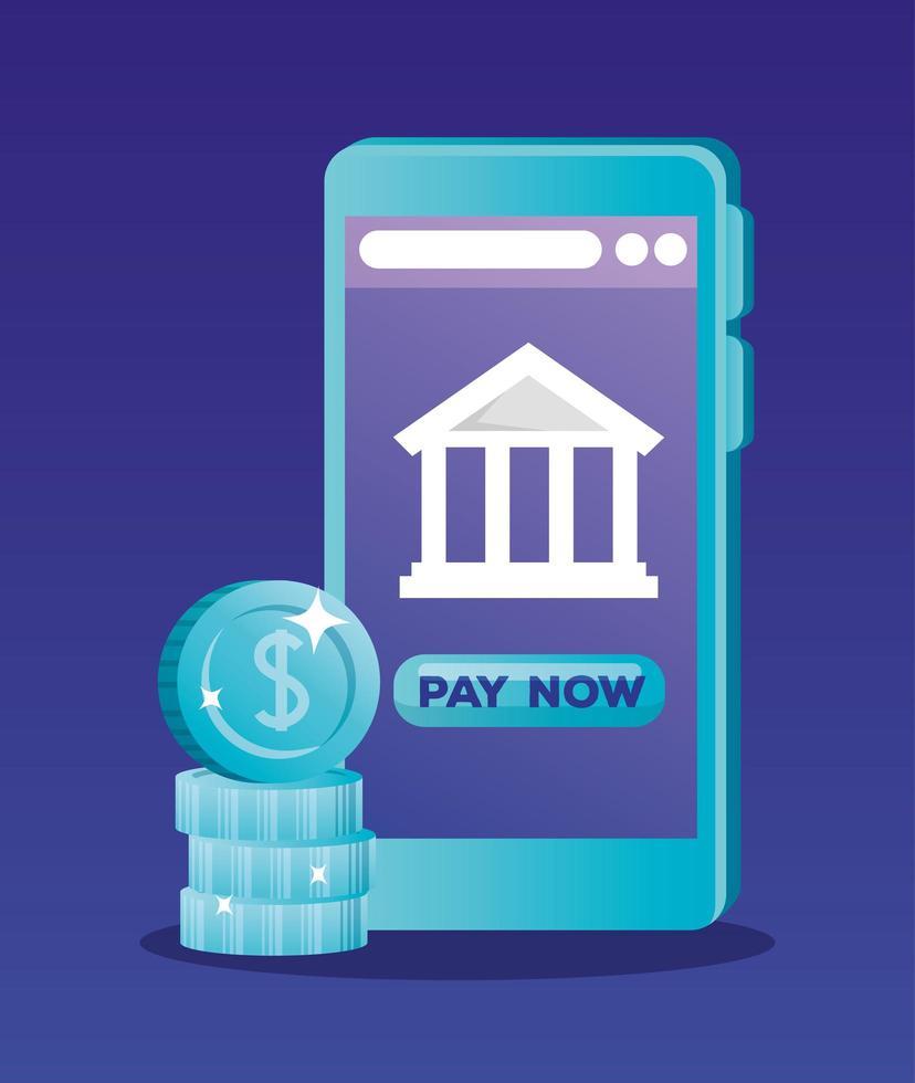 Smartphone mit Bank und Münzen Vektor-Design vektor