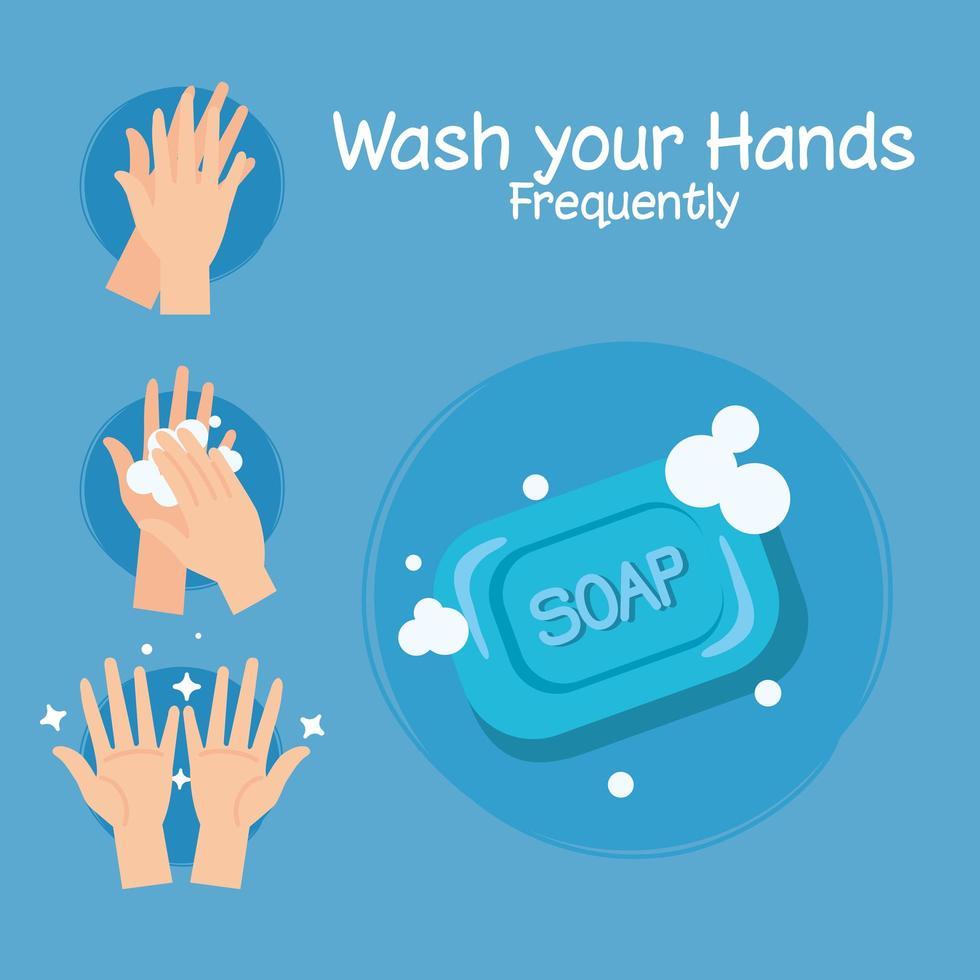 Seifenstück und Hände waschen Schritte Vektor-Design vektor