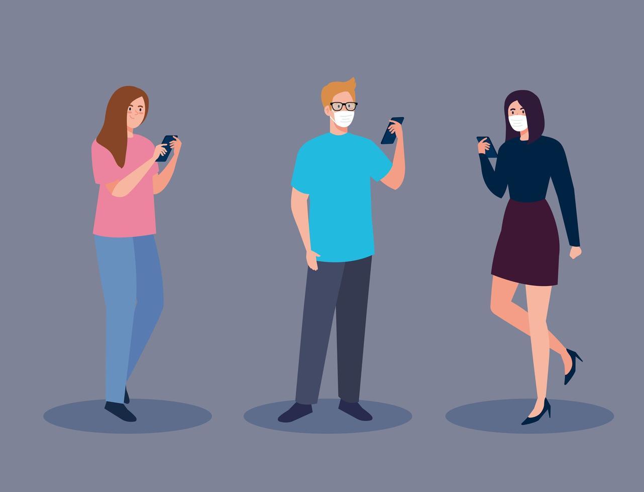 Frauen und Mann mit medizinischer Maske, die Smartphone-Vektorentwurf hält vektor