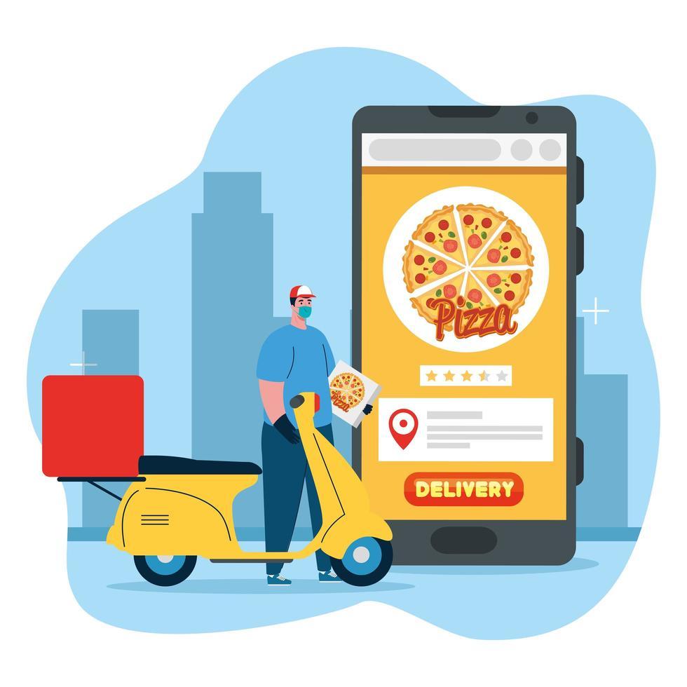 Lieferbote mit Maske Motorrad Pizza Box und Smartphone Vektor-Design vektor