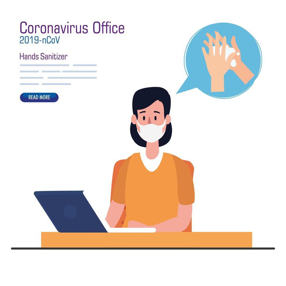Geschäftsfrau mit Maske auf Schreibtisch und Händedesinfektionsmittelvektorentwurf vektor