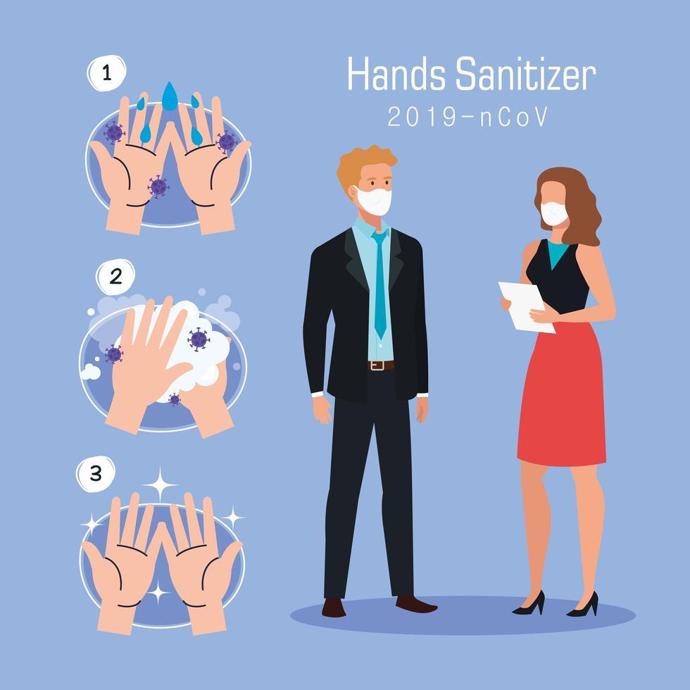 Geschäftsfrau Mann und Hände waschen Schritte Vektor-Design vektor