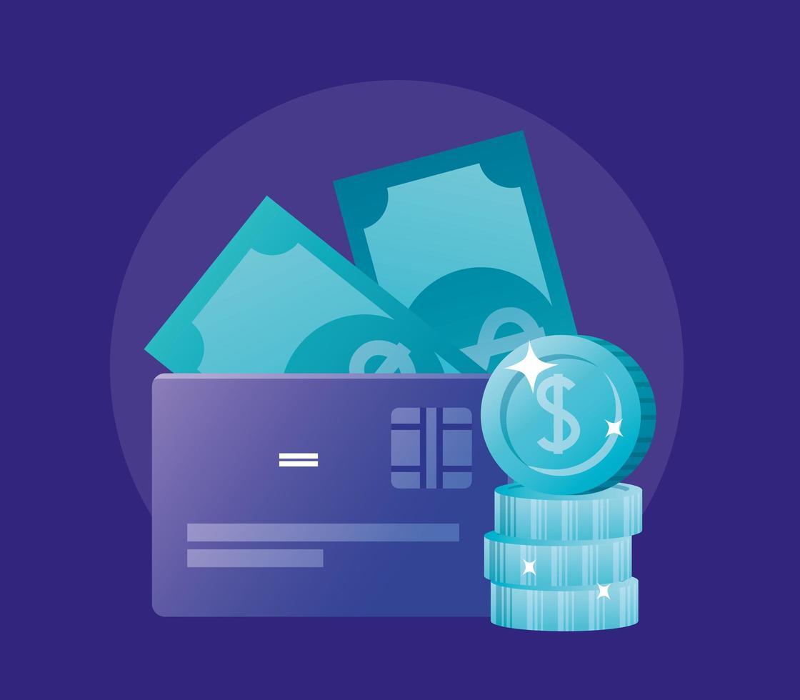 Münzen Kreditkarte und Rechnungen Vektor-Design vektor