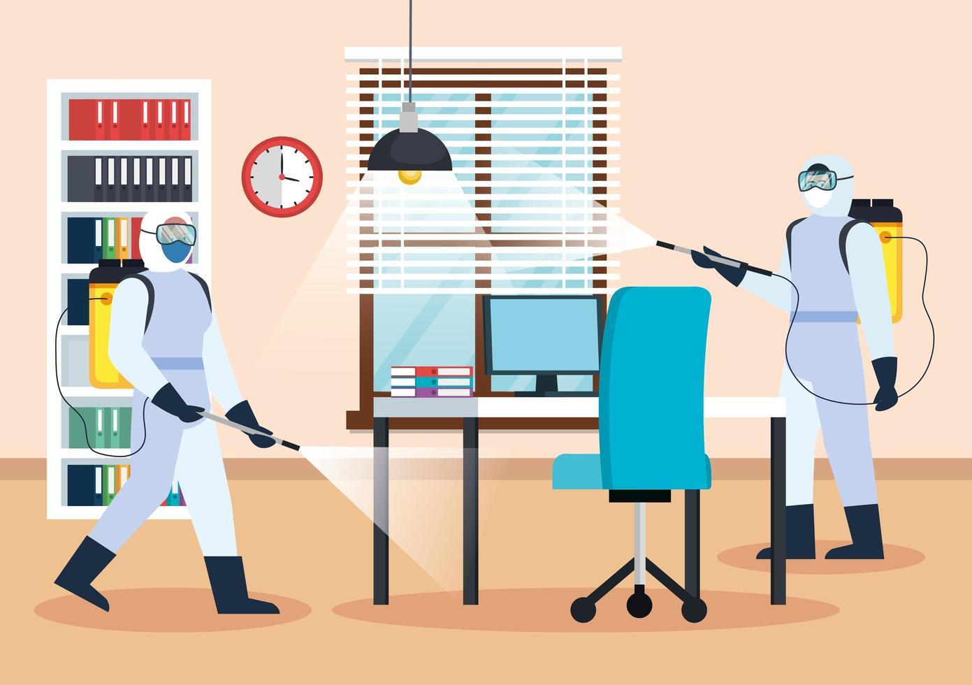 Männer mit Schutzanzügen, die Bürovektorentwurf sprühen vektor