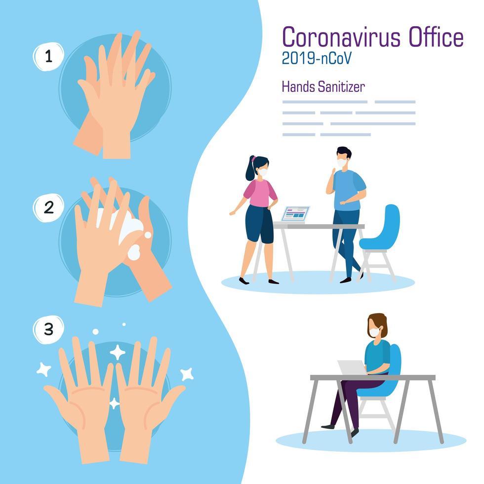 Geschäftsleute im Büro und Hände Desinfektionsmittel Vektor-Design vektor