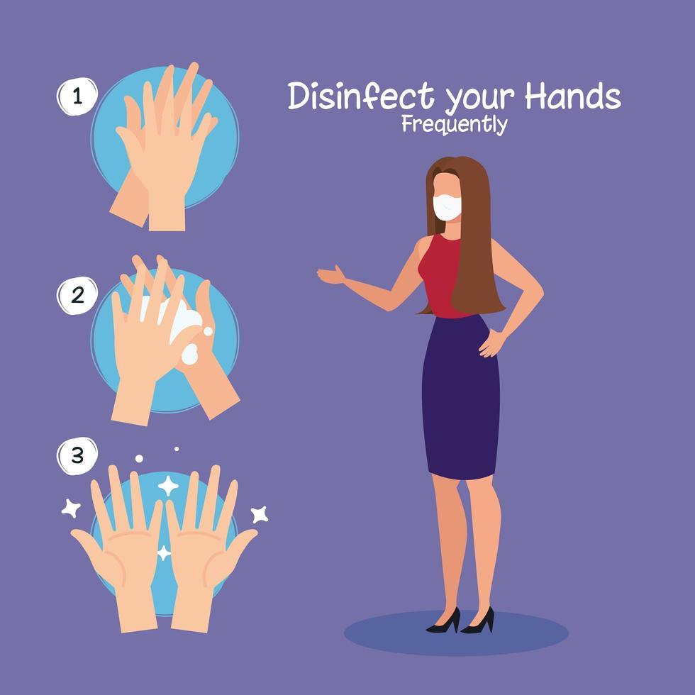Geschäftsfrau und Hände waschen Schritte Vektor-Design vektor