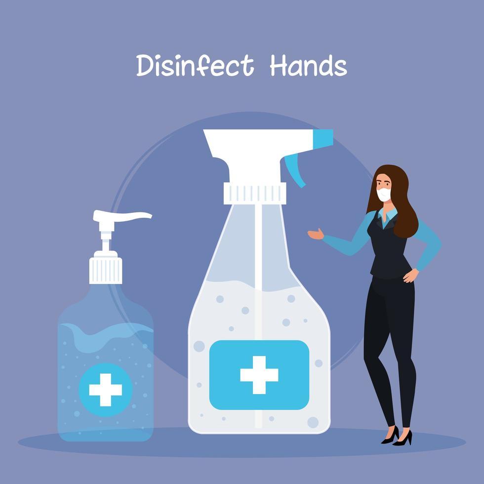 Geschäftsfrau mit Maske und Hände Desinfektionsflaschen Vektor-Design vektor