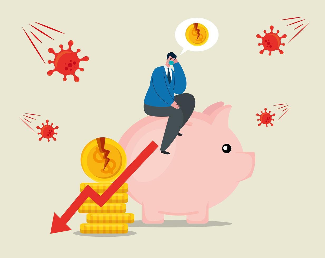 Geschäftsmann mit Maske Schweinchen und gebrochenen Münzen des Konkursvektordesigns vektor