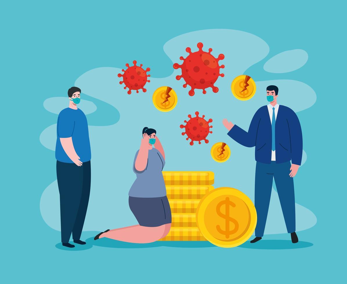 Geschäftsleute mit Masken und gebrochenen Münzen des Konkursvektordesigns vektor