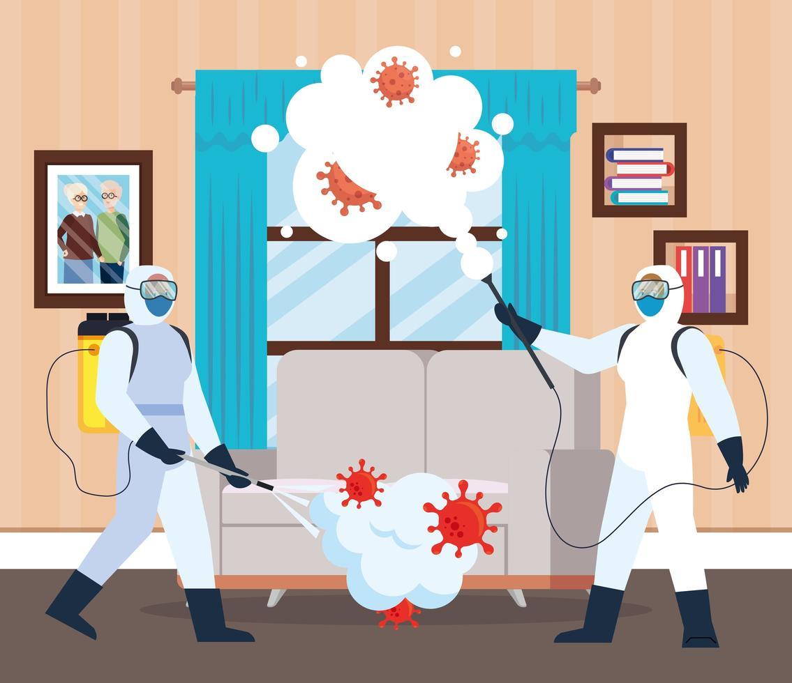 Männer mit Schutzanzug sprühen nach Hause Fenster und Couch mit Covid 19 Vektor-Design vektor