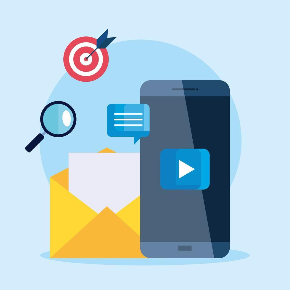 Smartphone und Umschlag mit Symbolsatz des digitalen Marketingvektordesigns vektor