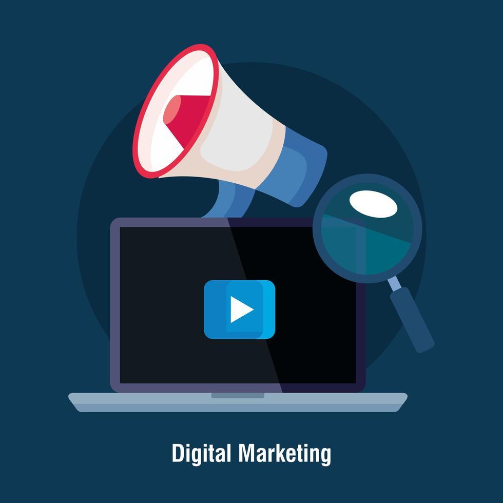 Laptop mit Megaphon-Wiedergabetaste und Lupe des digitalen Marketing-Vektorentwurfs vektor