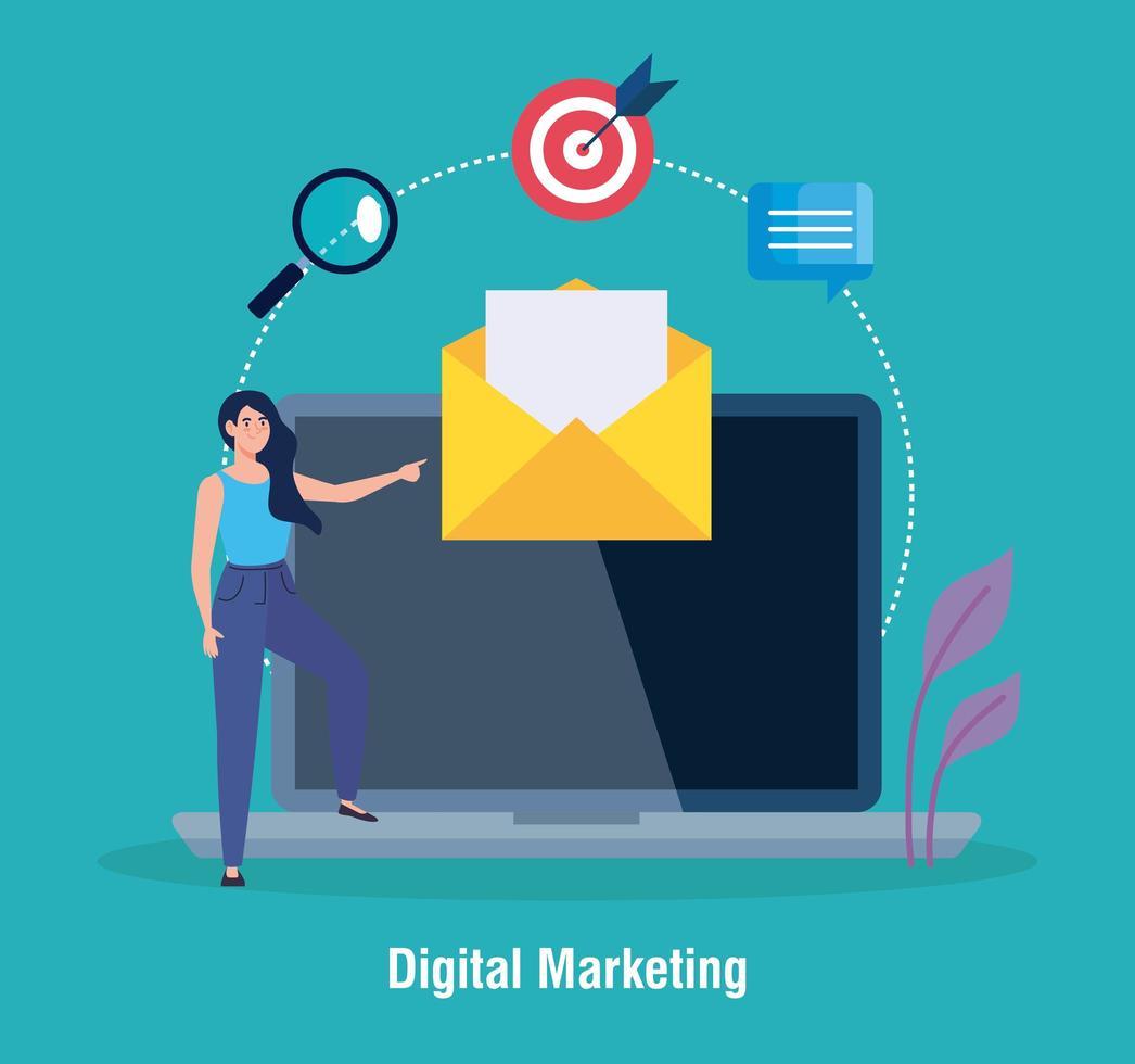Frauen-Avatar mit Laptop-Umschlag und Symbolsatz des digitalen Marketingvektorentwurfs vektor