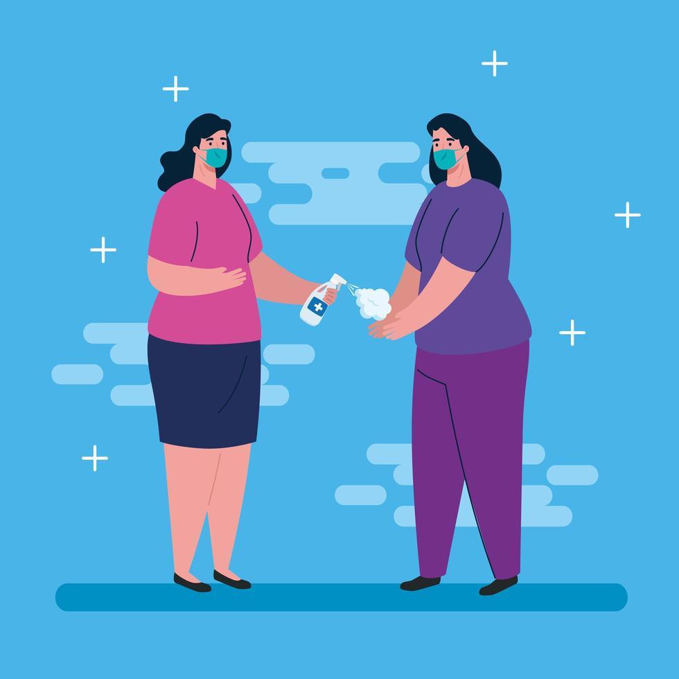 Frauen mit medizinischen Masken und Händedesinfektionsmittel-Vektordesign vektor