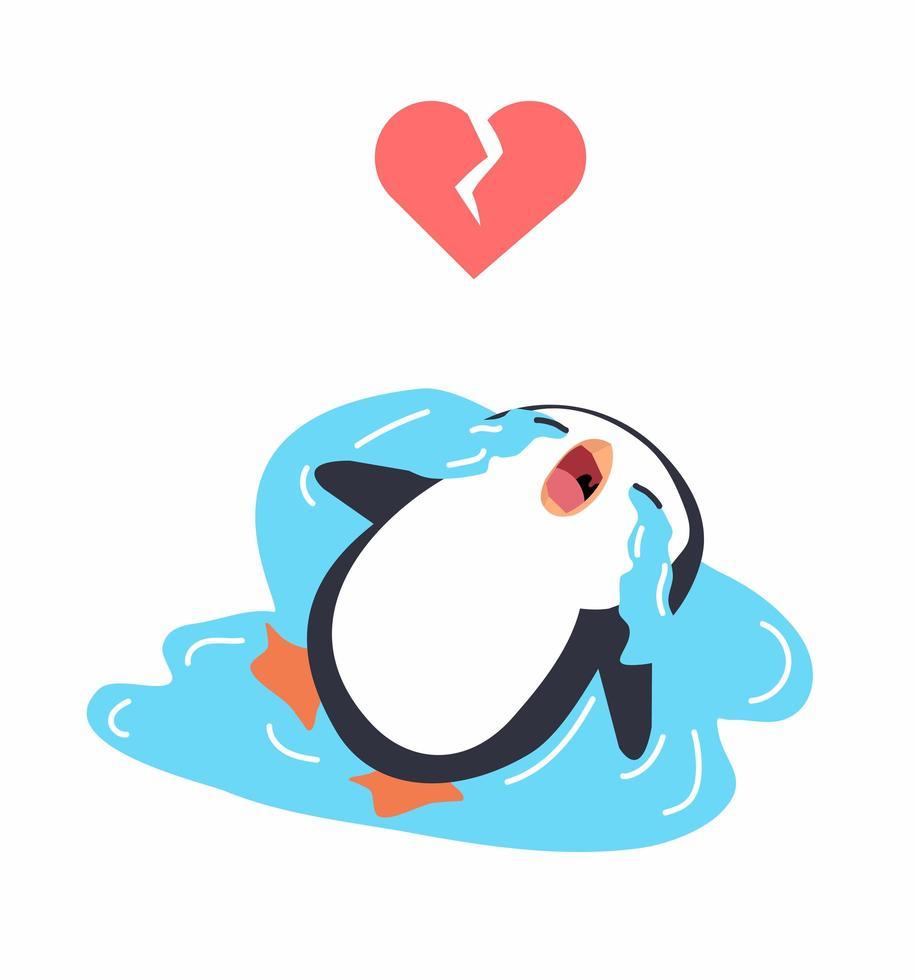 söt pingvin gråter, trasigt hjärta koncept vektor