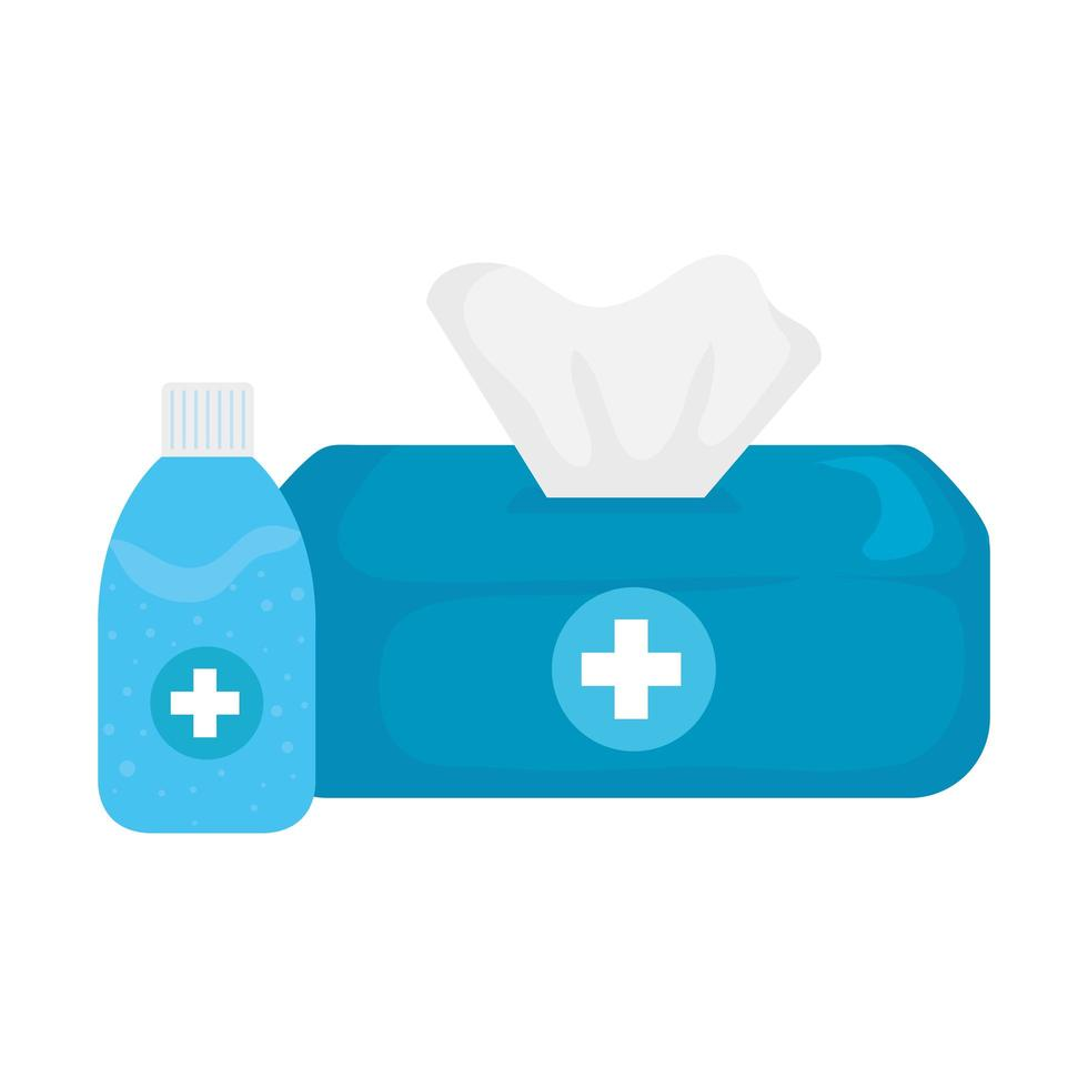 Hände Desinfektionsflasche und Taschentuchbox Vektor-Design vektor
