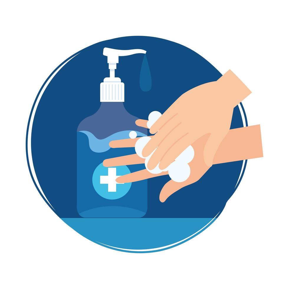 Hände waschen mit Desinfektionsflasche Vektor-Design vektor