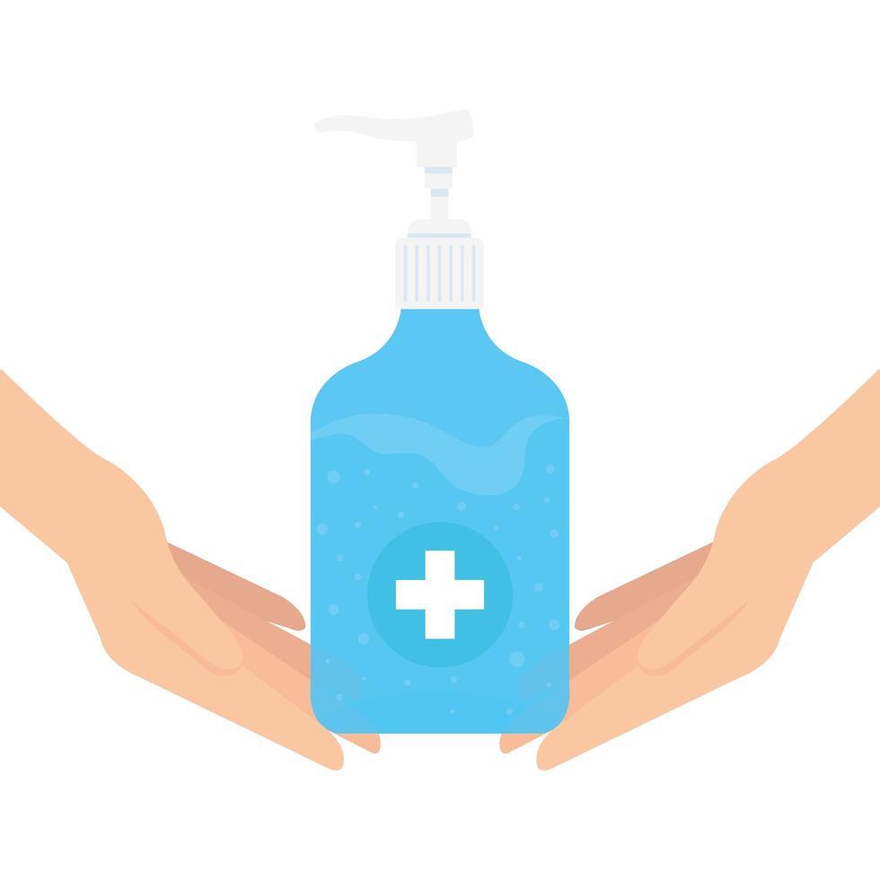 Hände, die Desinfektionsflasche mit Handvektorentwurf halten vektor