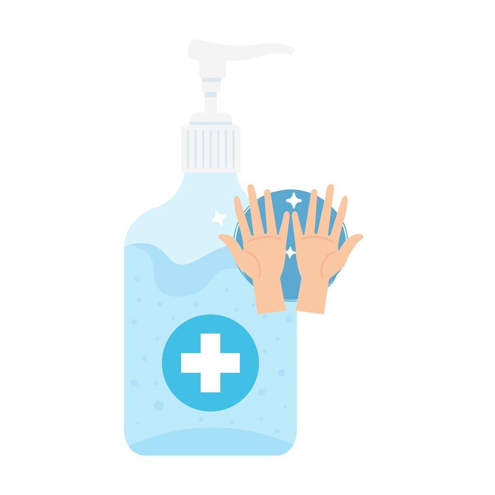 Hände Desinfektionsflasche mit Händen Vektor-Design vektor