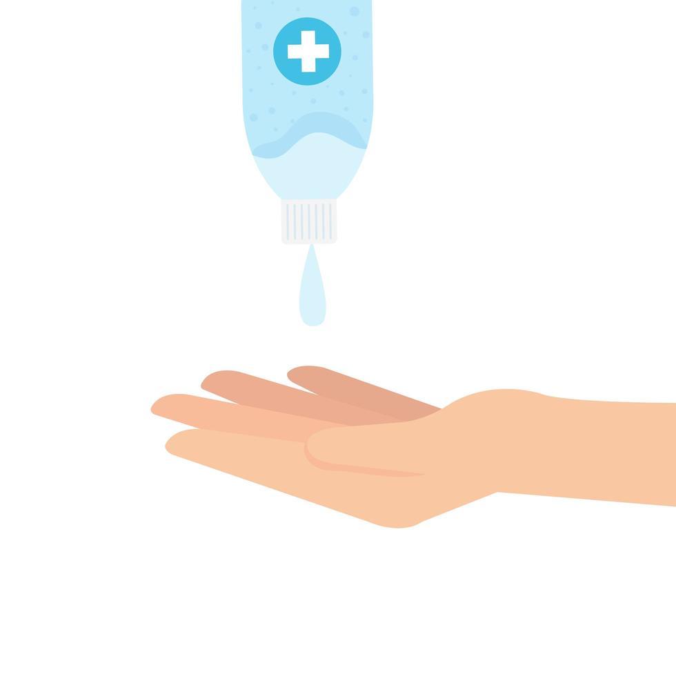 Hand, die Desinfektionsflasche mit Handvektorentwurf hält vektor