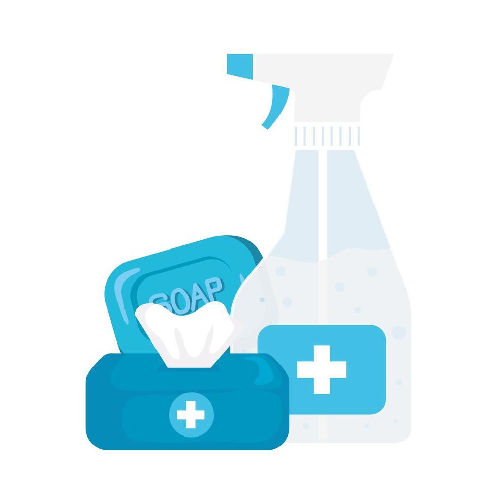 Hände Desinfektionsmittel Flasche Seife und Taschentuch Box Vektor-Design vektor