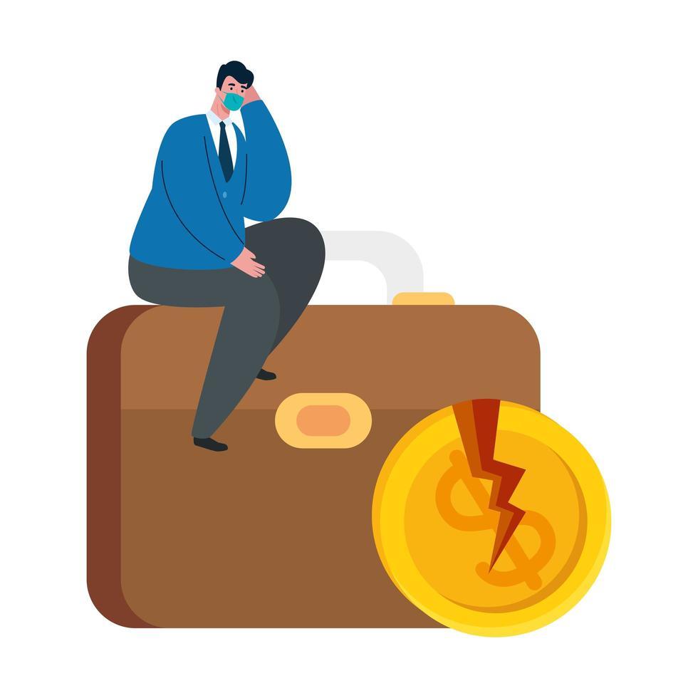 Geschäftsmann mit Maskenkoffer und gebrochener Münze des Konkursvektordesigns vektor