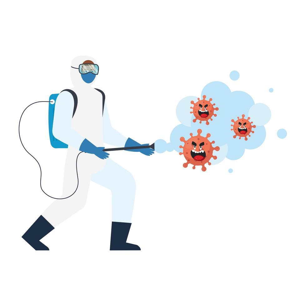 Mann mit Schutzanzug sprüht covid 19 Virus Cartoons Vektor-Design vektor