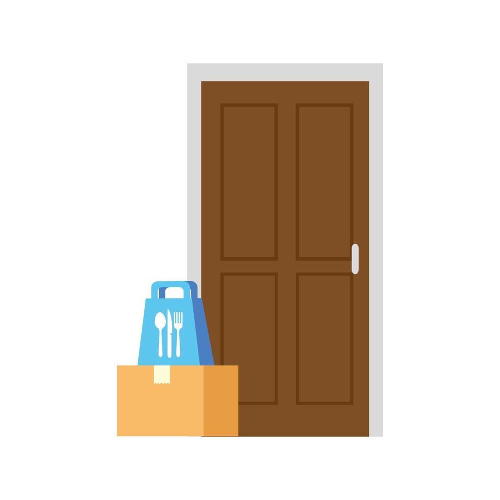 Lieferbox und Lebensmitteltasche vor Türvektorentwurf vektor