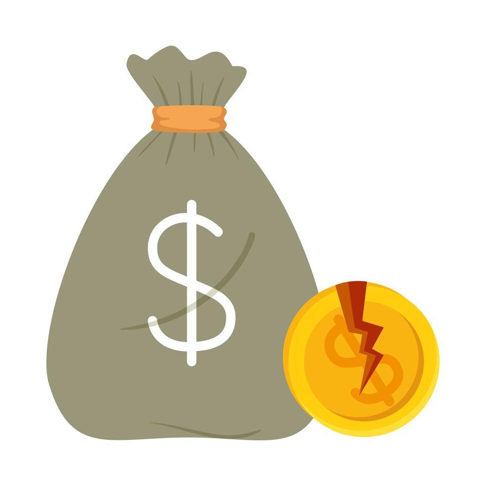 gebrochene Dollarmünze und Geldbeutel des Konkursvektordesigns vektor