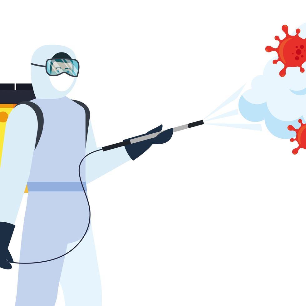 Mann mit Schutzanzug sprüht Covid 19 Virus Vektor Design