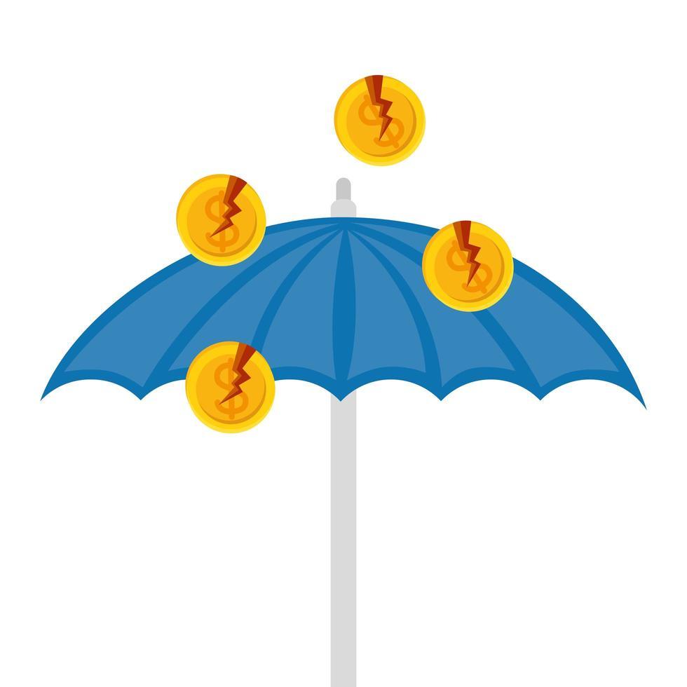 gebrochene Dollarmünzen über Regenschirm des Konkursvektordesigns vektor