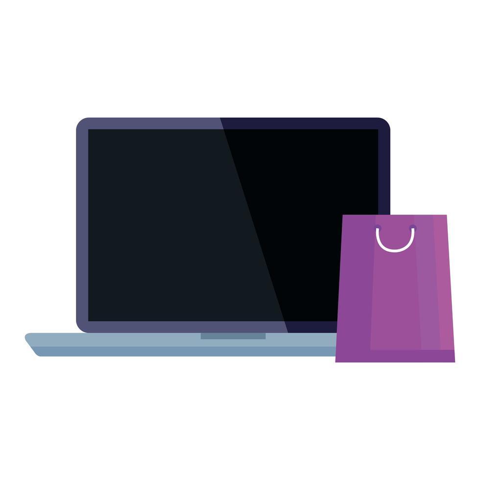 shoppingväska och bärbar datorvektordesign vektor