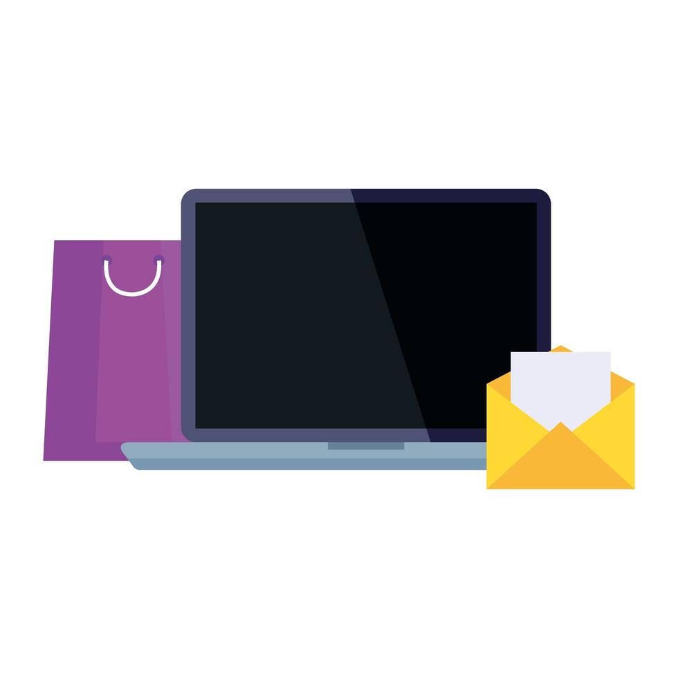 shoppingväska bärbar dator och kuvertvektordesign vektor
