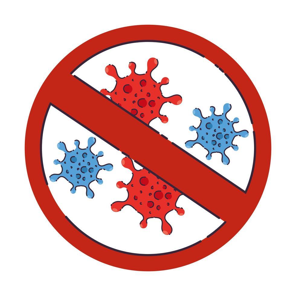 covid 19-virus med ban-vektordesign vektor