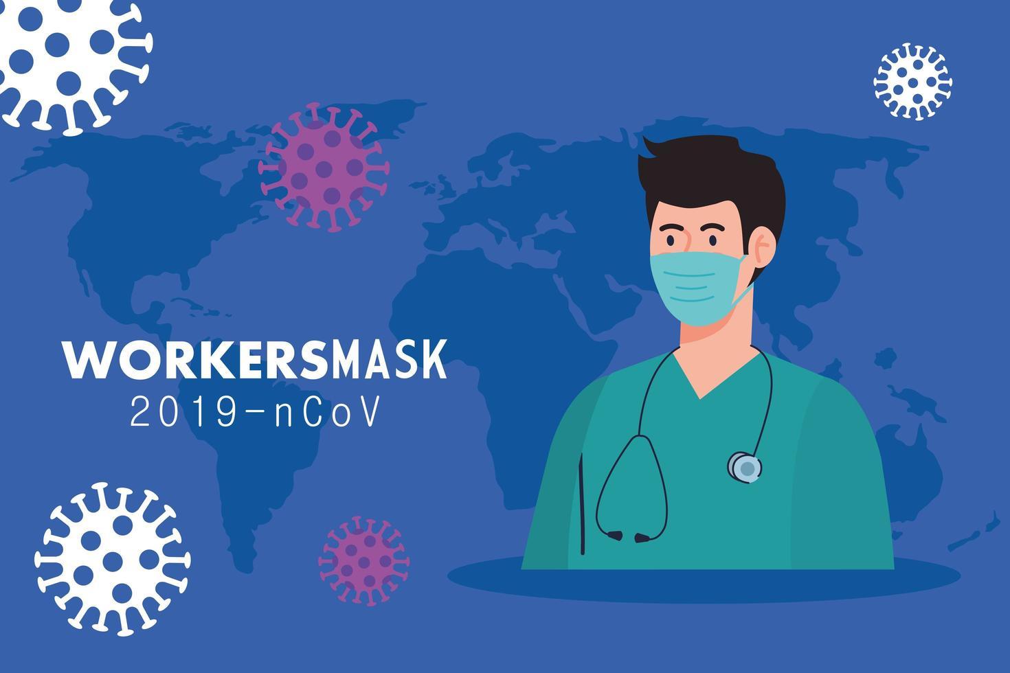 sjukvårdare bär medicinsk mask mot 2019 ncov vektor