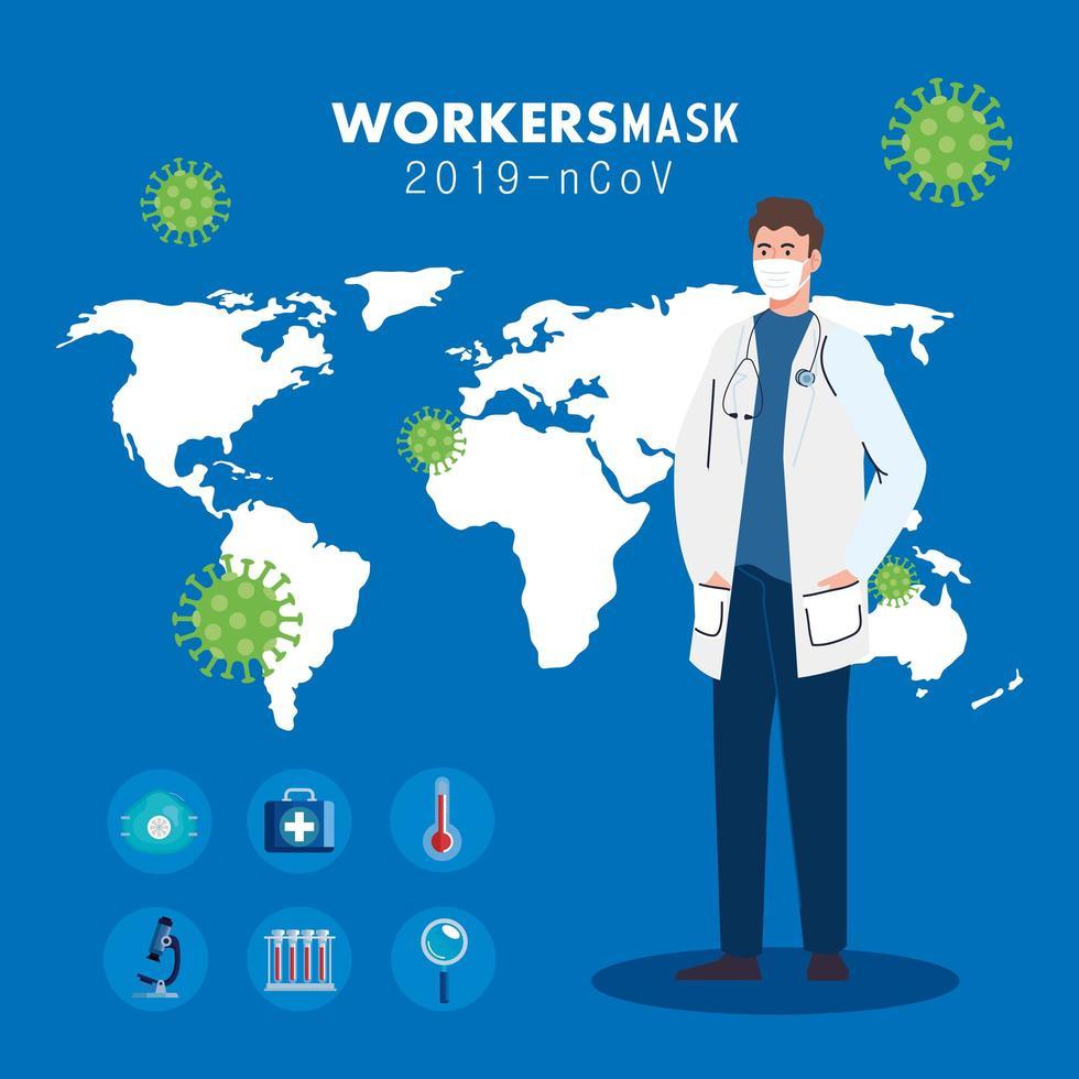 Arzt trägt medizinische Maske gegen 2019 ncov mit medizinischen Ikonen und Hintergrundweltplaneten vektor
