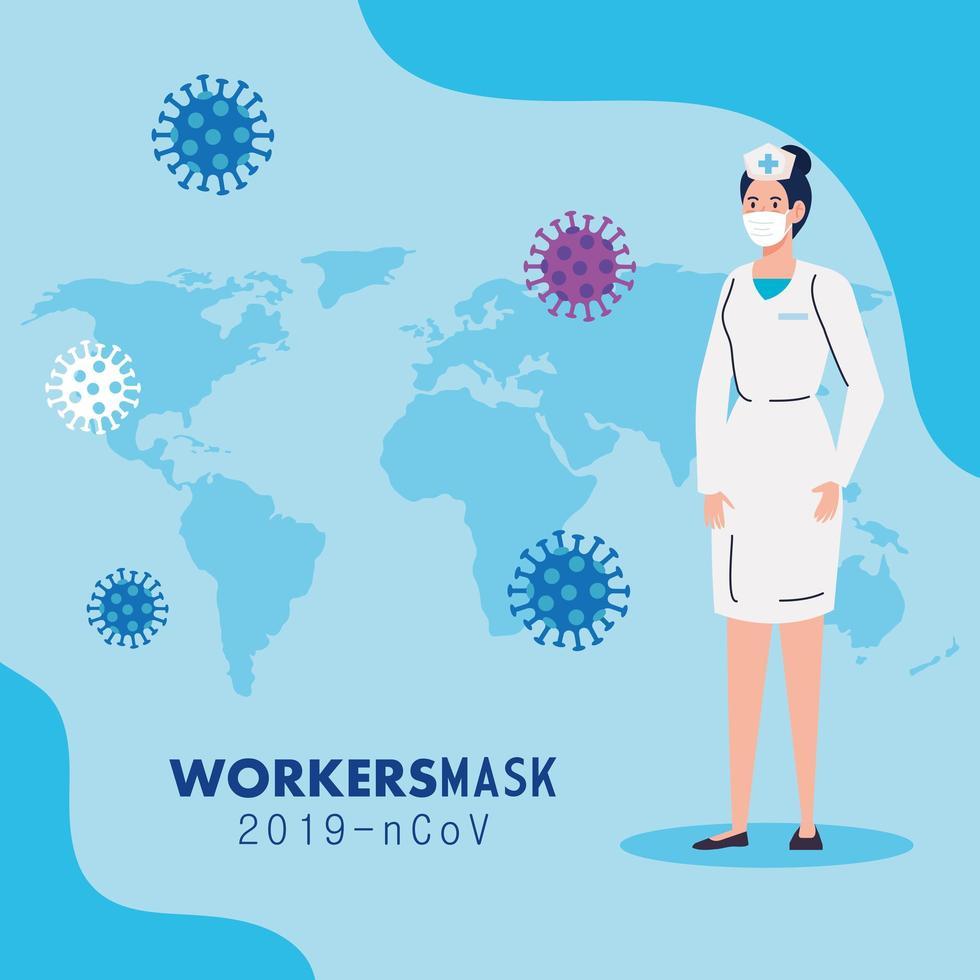 Krankenschwester, die medizinische Maske während covid 19 mit Weltkarte trägt vektor