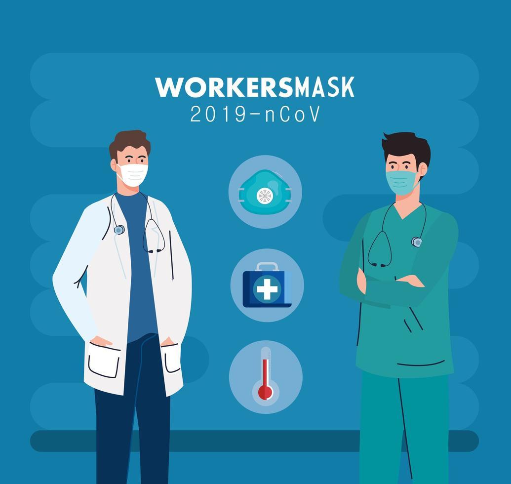 Arzt mit Sanitäter trägt medizinische Maske gegen 2019 ncov mit medizinischen Ikonen vektor
