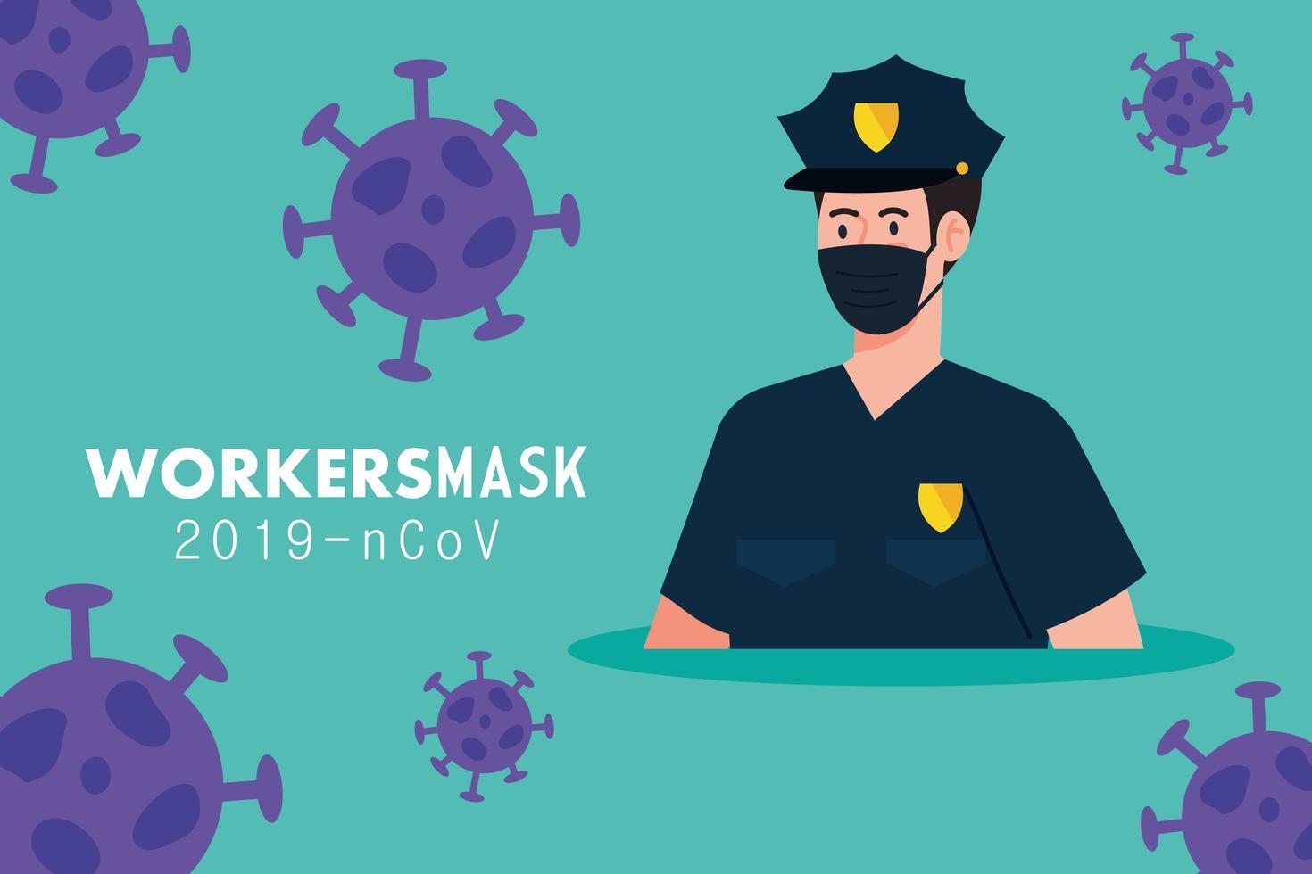 Polizist mit medizinischer Maske gegen Covid 19 vektor