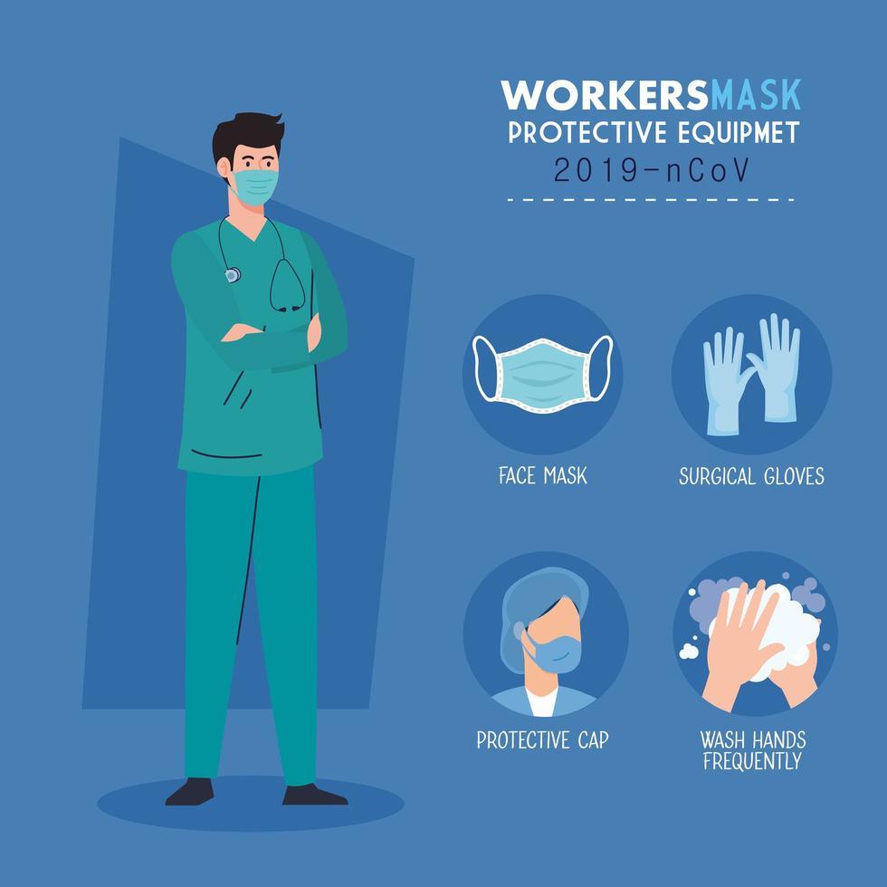 Sanitäter trägt medizinische Maske gegen 2019 ncov mit Schutzausrüstung Prävention Coronavirus vektor