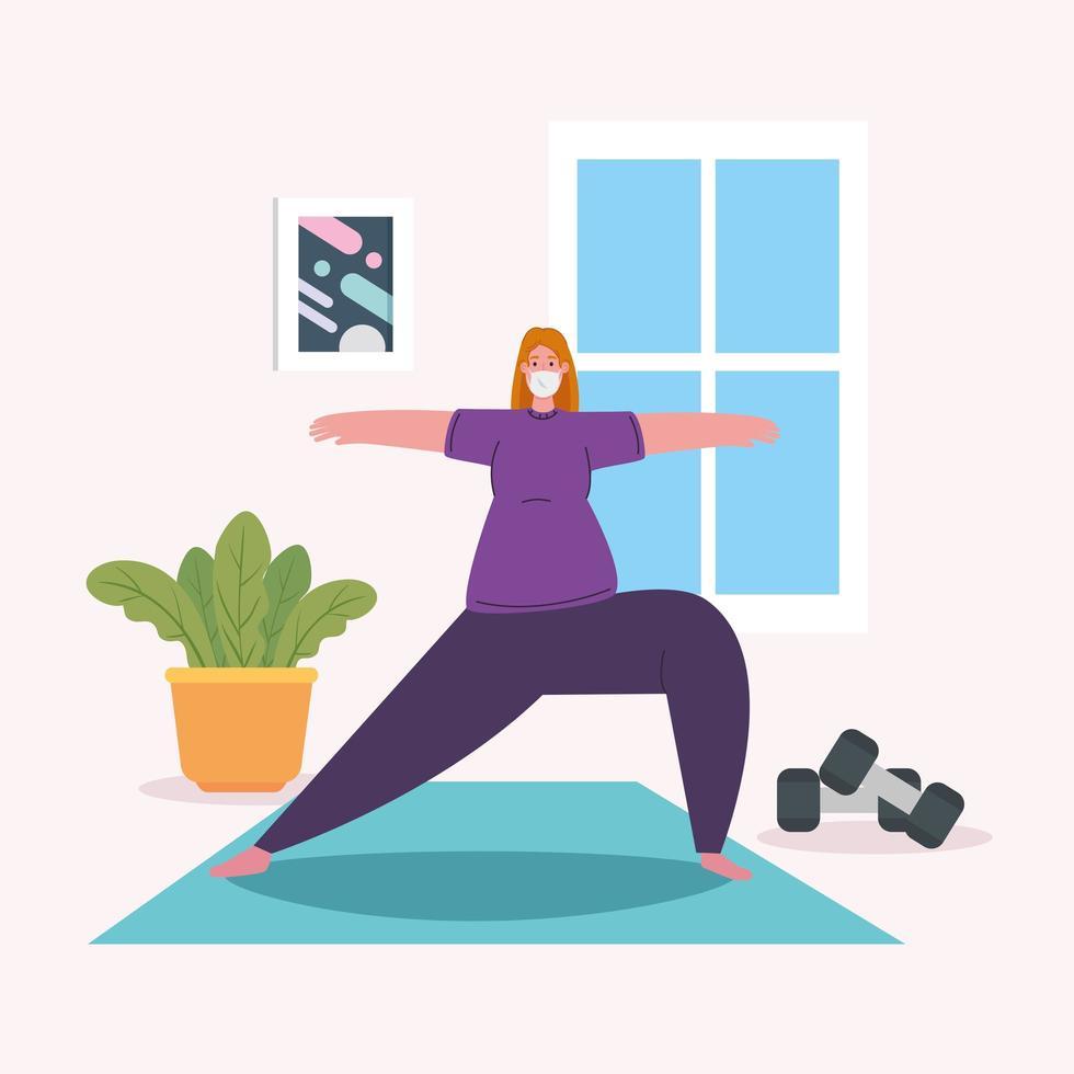 kvinna som tränar hemma, stannar hemma, hälsosam livsstil inomhus, förebyggande covid 19 vektor