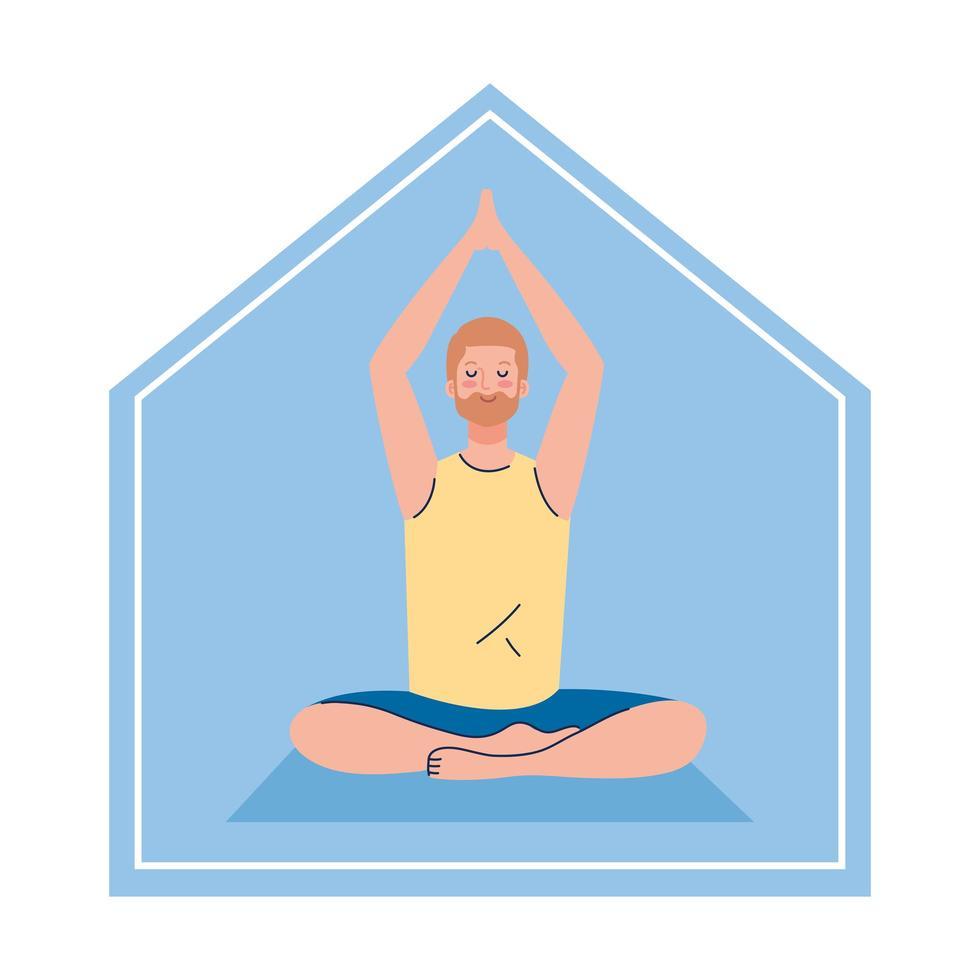 stanna hemma, man mediterar, koncept för yoga, meditation, koppla av, hälsosam livsstil vektor