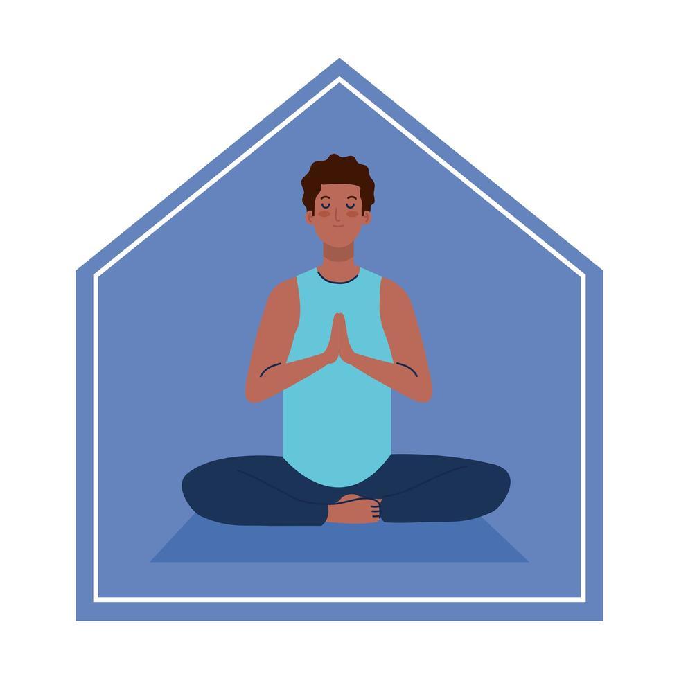 stanna hemma, man afro mediterar, koncept för yoga, meditation, slappna av, hälsosam livsstil vektor