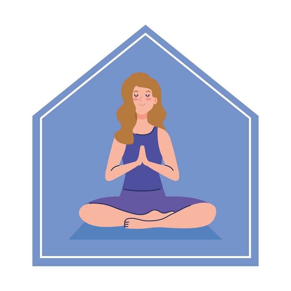 stanna hemma, kvinna som mediterar, koncept för yoga, meditation, koppla av, hälsosam livsstil vektor