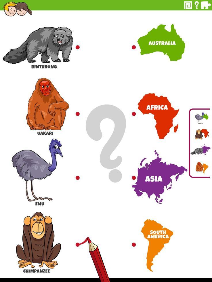 matcha djurarter och kontinenter pedagogiskt spel vektor