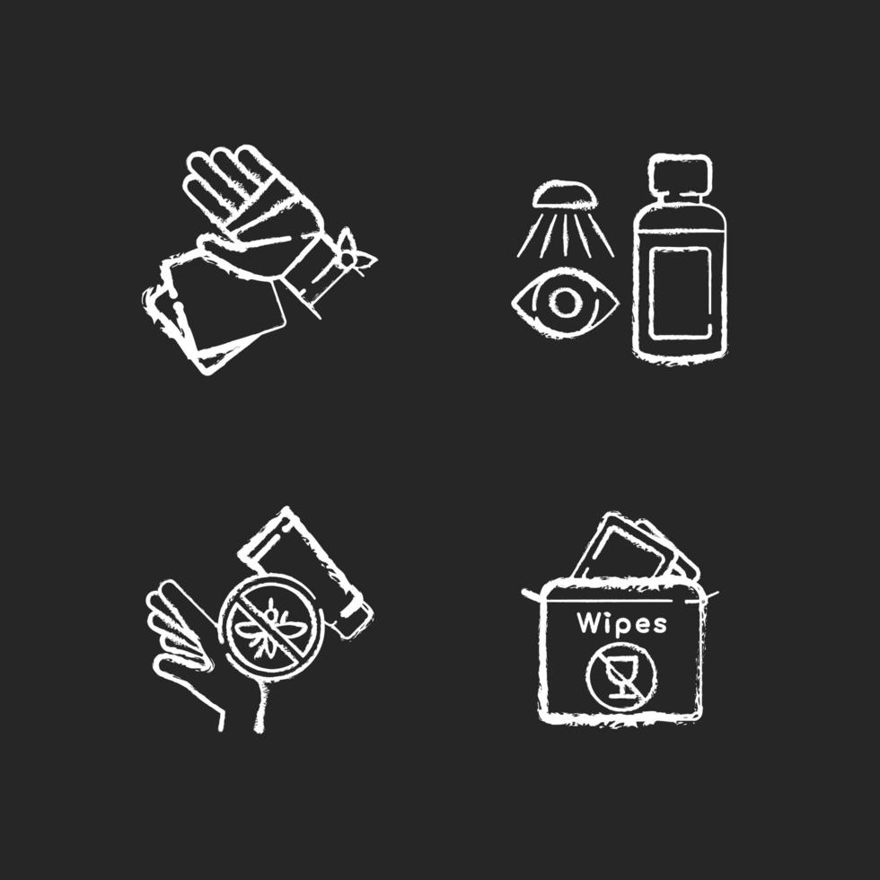 Notfall medizinische Kit Kreide weiße Symbole auf schwarzem Hintergrund eingestellt vektor