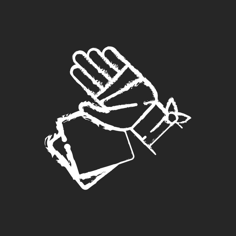 Mullbinden und Pads kreiden weiße Ikone auf schwarzem Hintergrund vektor